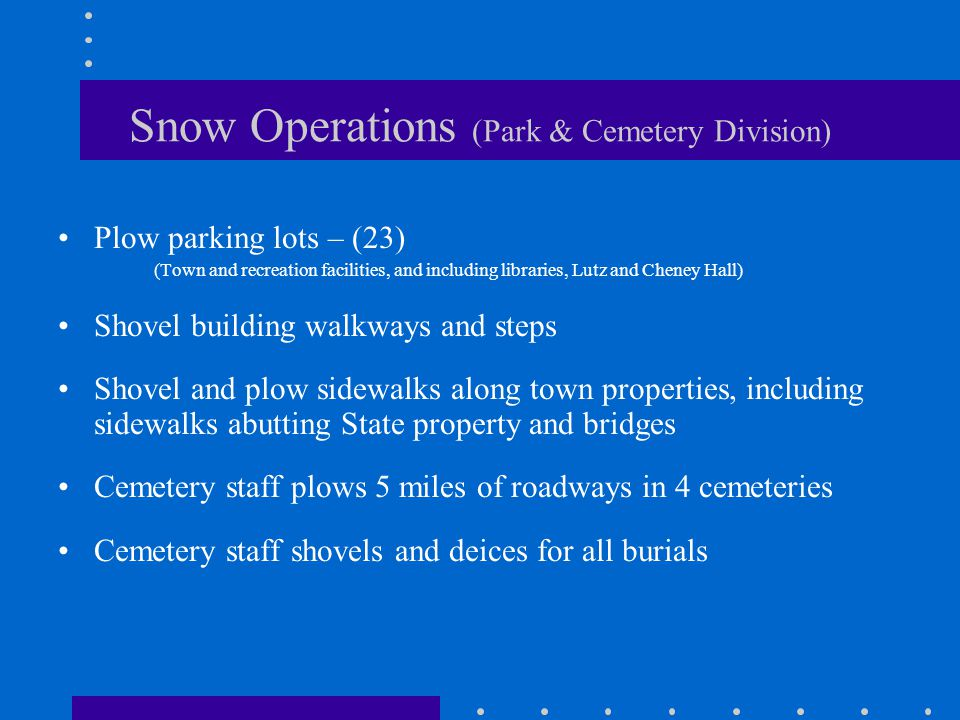 Snow Operations (Park & Cemetery Division) Plow parking lots – (23) (Town and recreation facilities, and including libraries, Lutz and Cheney Hall) Shovel building walkways and steps Shovel and plow sidewalks along town properties, including sidewalks abutting State property and bridges Cemetery staff plows 5 miles of roadways in 4 cemeteries Cemetery staff shovels and deices for all burials