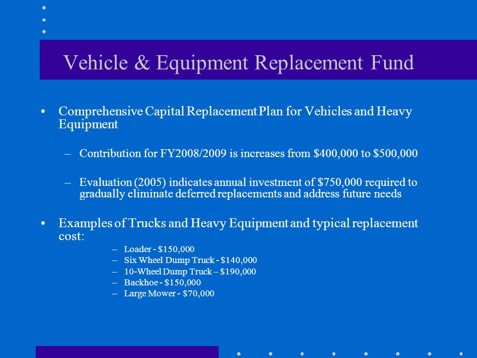 Vehicle & Equipment Replacement Fund Comprehensive Capital Replacement Plan for Vehicles and Heavy Equipment –Contribution for FY2008/2009 is increases from $400,000 to $500,000 –Evaluation (2005) indicates annual investment of $750,000 required to gradually eliminate deferred replacements and address future needs Examples of Trucks and Heavy Equipment and typical replacement cost: –Loader - $150,000 –Six Wheel Dump Truck - $140,000 –10-Wheel Dump Truck – $190,000 –Backhoe - $150,000 –Large Mower - $70,000