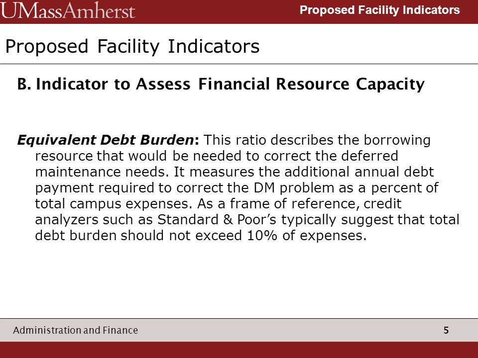 5 Administration and Finance Proposed Facility Indicators B.