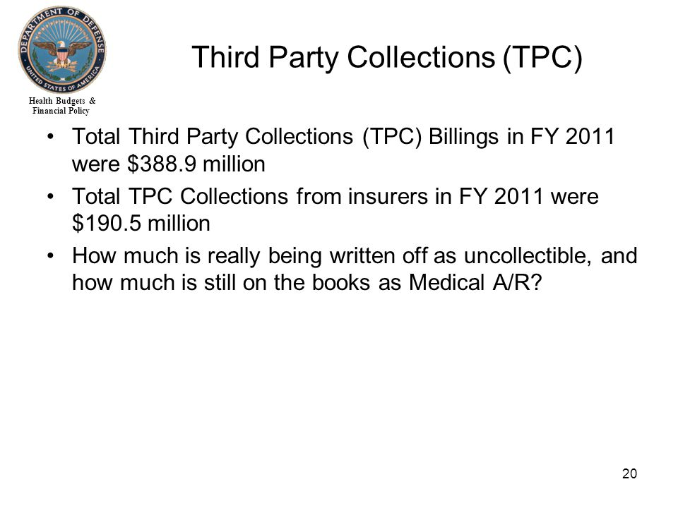 Health Budgets & Financial Policy 20 Third Party Collections (TPC) Total Third Party Collections (TPC) Billings in FY 2011 were $388.9 million Total TPC Collections from insurers in FY 2011 were $190.5 million How much is really being written off as uncollectible, and how much is still on the books as Medical A/R