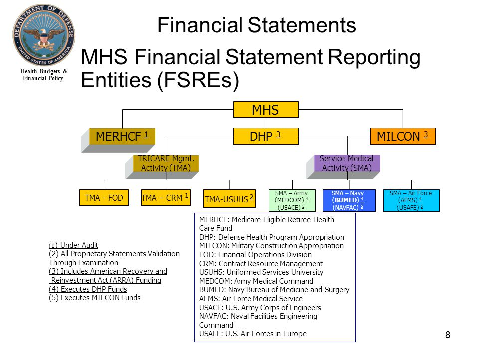 Health Budgets & Financial Policy 8 Financial Statements MHS Financial Statement Reporting Entities (FSREs) MHS MERHCF 1 DHP 3 TRICARE Mgmt.
