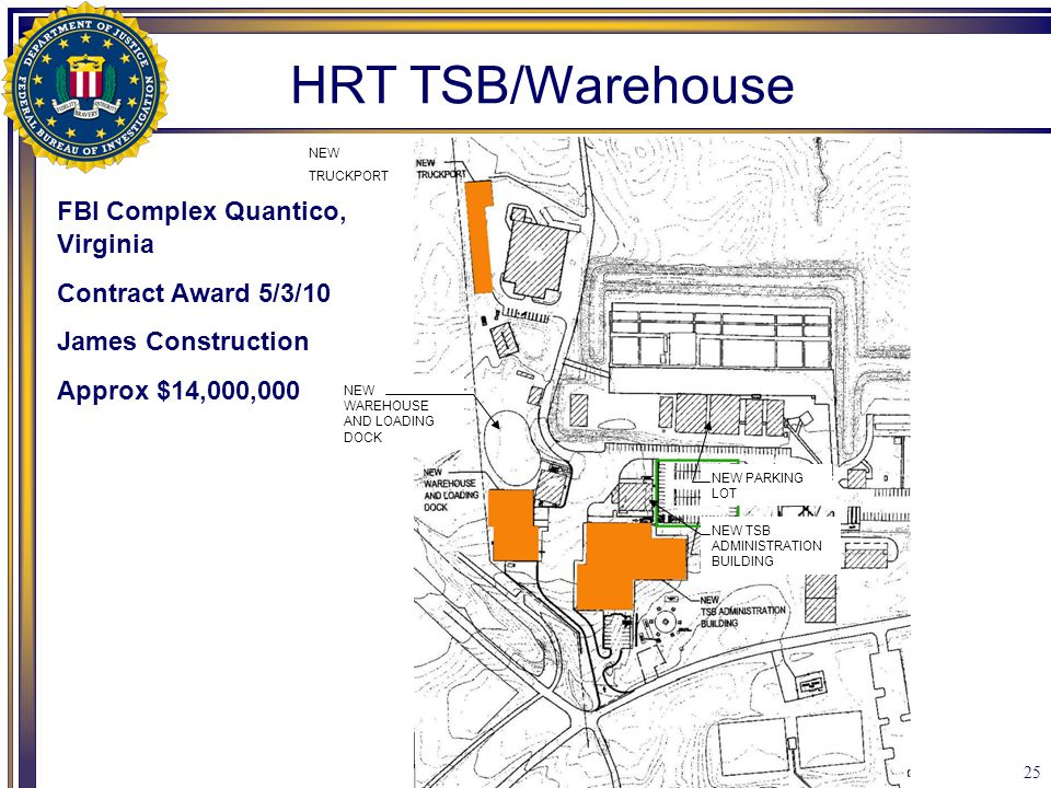 25 NEW TRUCKPORT NEW WAREHOUSE AND LOADING DOCK NEW TSB ADMINISTRATION BUILDING NEW PARKING LOT HRT TSB/Warehouse FBI Complex Quantico, Virginia Contr