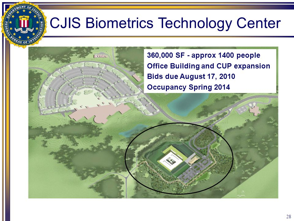 28 360,000 SF - approx 1400 people Office Building and CUP expansion Bids due August 17, 2010 Occupancy Spring 2014 CJIS Biometrics Technology Center