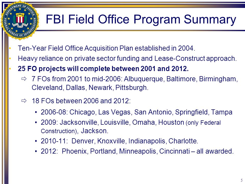 5 Ten-Year Field Office Acquisition Plan established in 2004. Heavy reliance on private sector funding and Lease-Construct approach. 25 FO projects wi