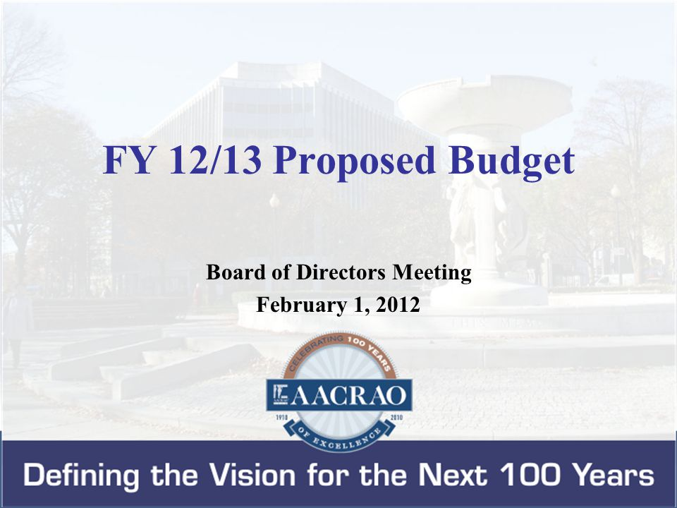 Budget Development Process Planning for FY 12/13 operating budget began in September 2011.