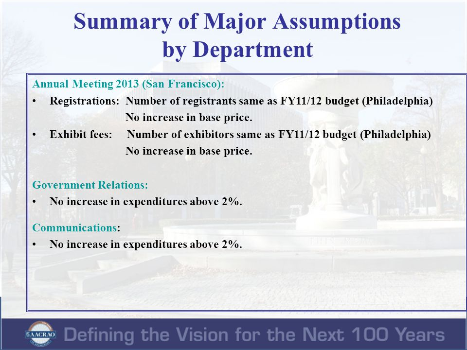 Summary of Major Assumptions by Department Annual Meeting 2013 (San Francisco): Registrations: Number of registrants same as FY11/12 budget (Philadelp