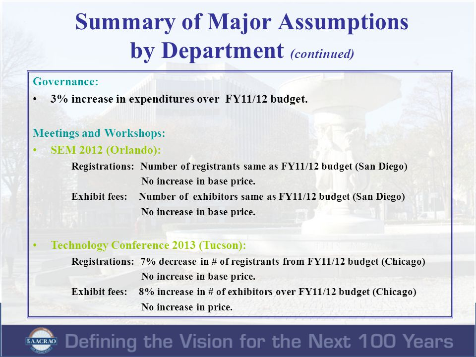 Summary of Major Assumptions by Department (continued) Meetings and Workshops (continued): Transfer Conference 2013 (Tucson): Registrations: Number of registrants same as FY11/12 budget (Chicago) No increase in base price.