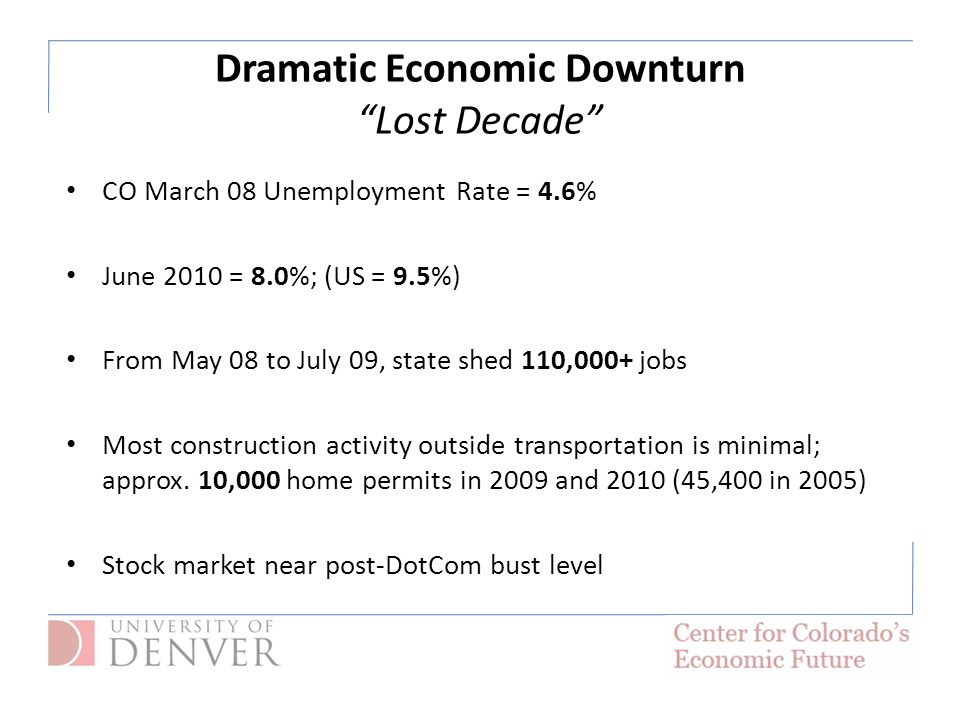 Dramatic Economic Downturn Lost Decade CO March 08 Unemployment Rate = 4.6% June 2010 = 8.0%; (US = 9.5%) From May 08 to July 09, state shed 110,000+ jobs Most construction activity outside transportation is minimal; approx.