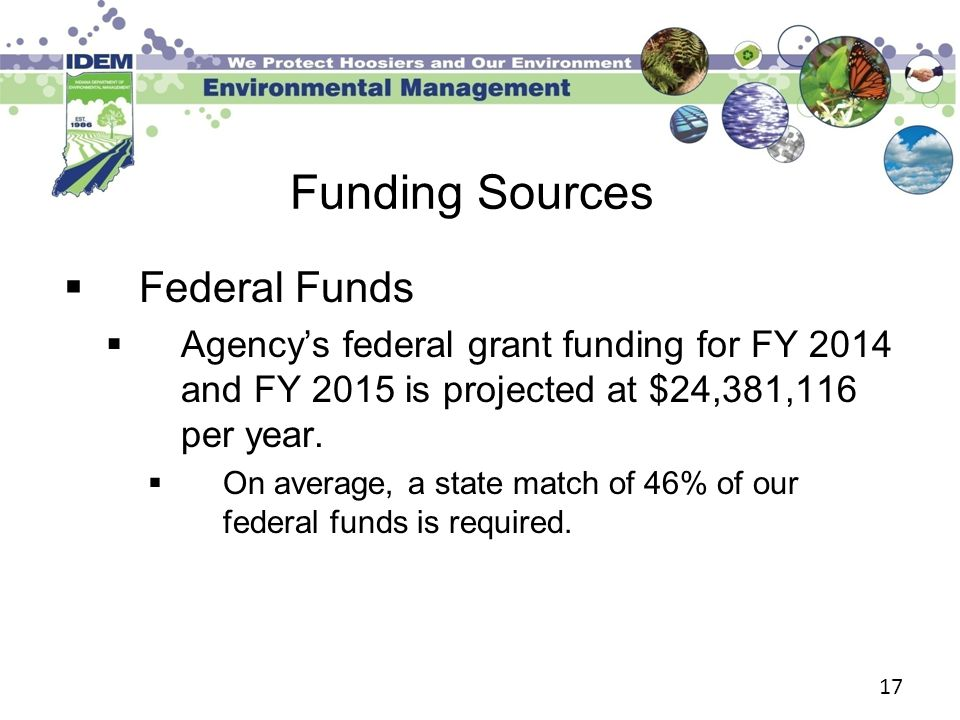 17 Funding Sources  Federal Funds  Agency's federal grant funding for FY 2014 and FY 2015 is projected at $24,381,116 per year.  On average, a stat