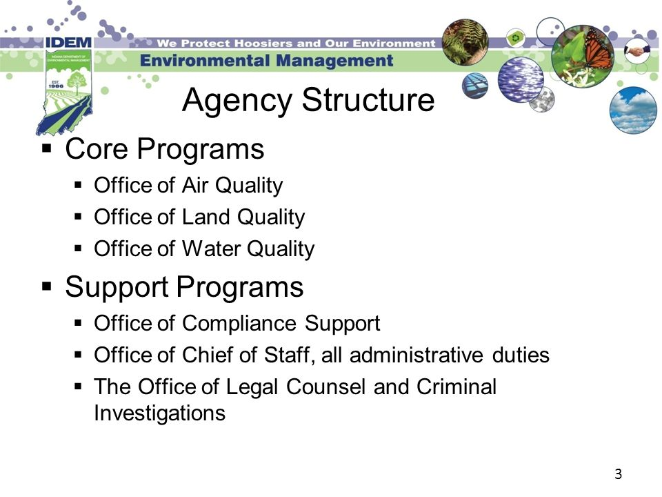 3 Agency Structure  Core Programs  Office of Air Quality  Office of Land Quality  Office of Water Quality  Support Programs  Office of Compliance Support  Office of Chief of Staff, all administrative duties  The Office of Legal Counsel and Criminal Investigations