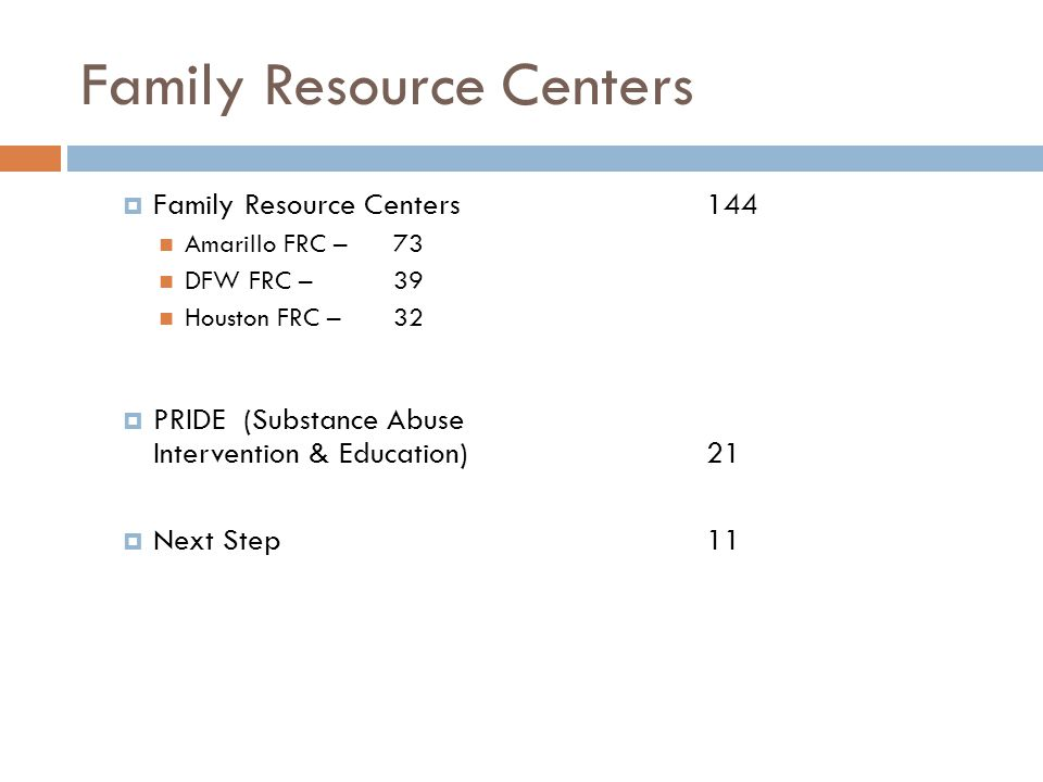 Family Resource Centers  Family Resource Centers 144 Amarillo FRC – 73 DFW FRC – 39 Houston FRC – 32  PRIDE (Substance Abuse Intervention & Education)21  Next Step 11