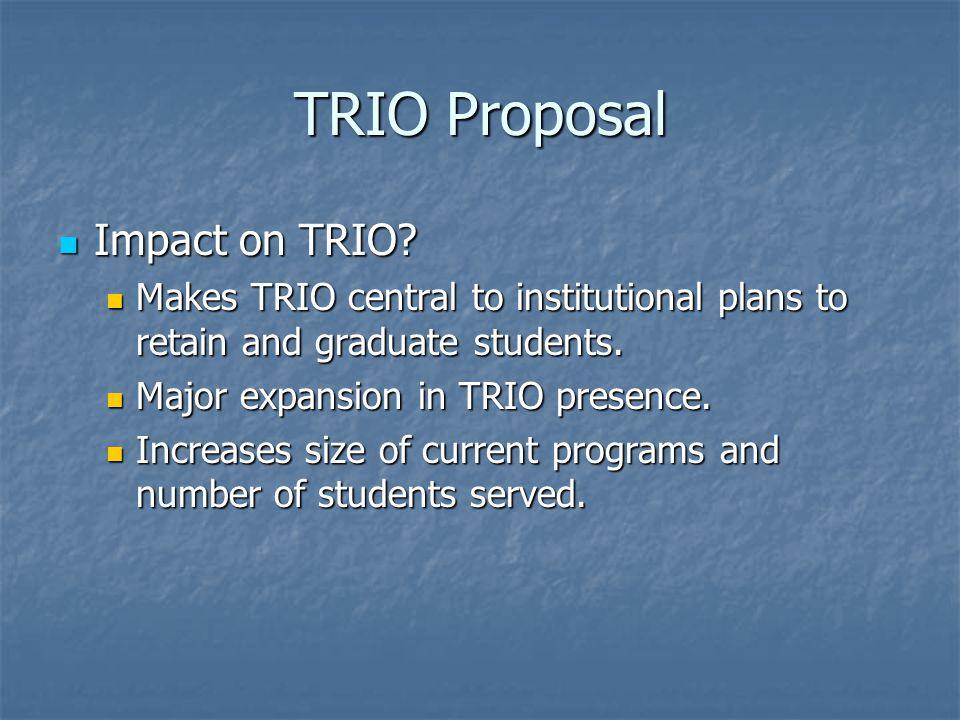 TRIO Proposal Impact on TRIO. Impact on TRIO.
