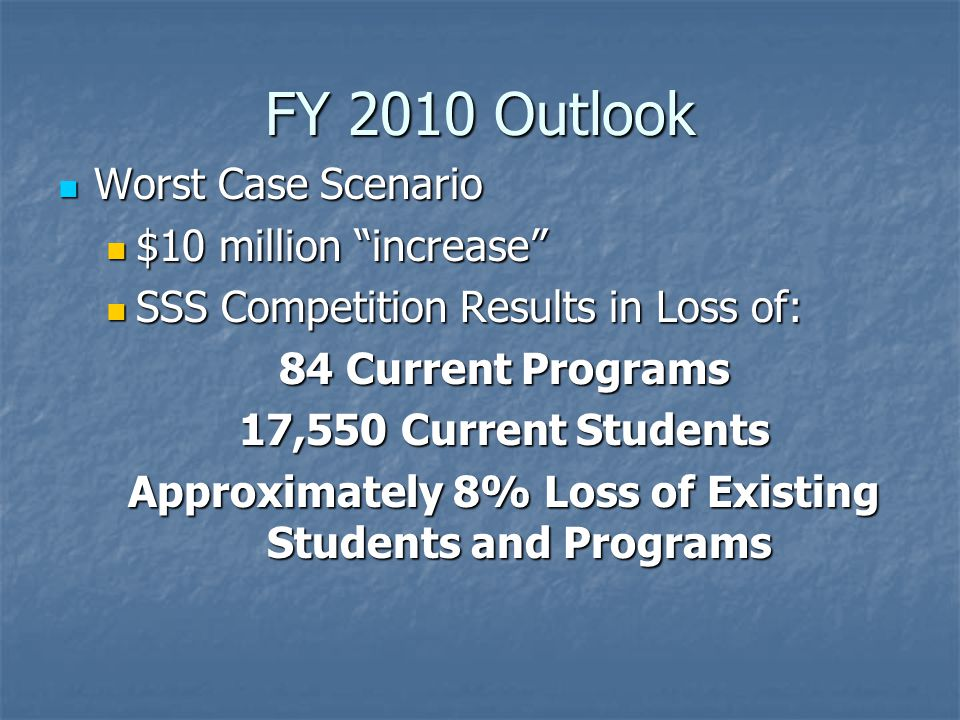 FY 2010 Outlook Worst Case Scenario $10 million increase SSS Competition Results in Loss of: 84 Current Programs 17,550 Current Students Approximately 8% Loss of Existing Students and Programs