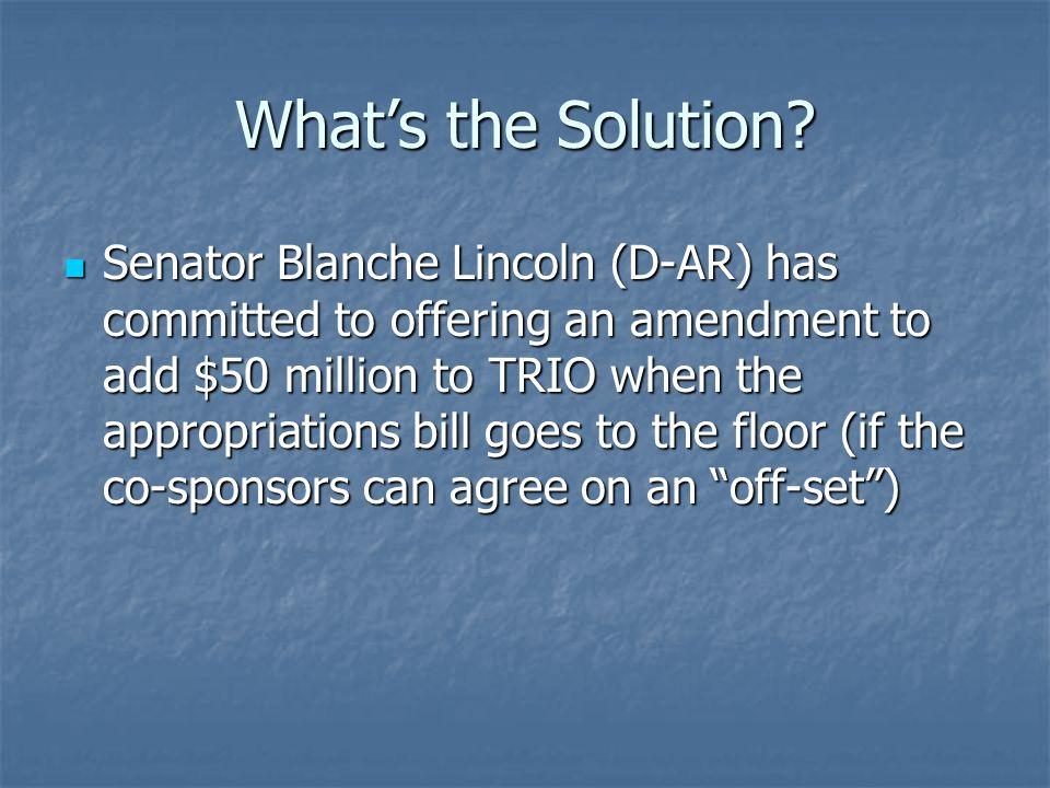 Potential Co-Sponsors Blanche Lincoln (D-AR) Susan Collins (R-ME) Jon Tester (D-MT)