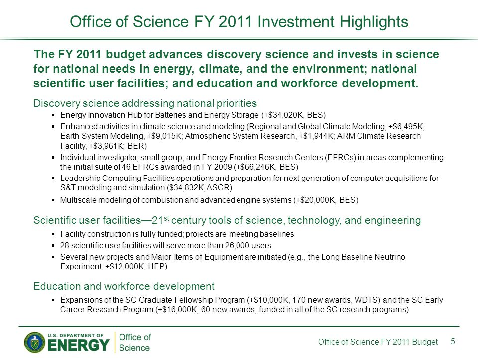 The FY 2011 budget advances discovery science and invests in science for national needs in energy, climate, and the environment; national scientific user facilities; and education and workforce development.