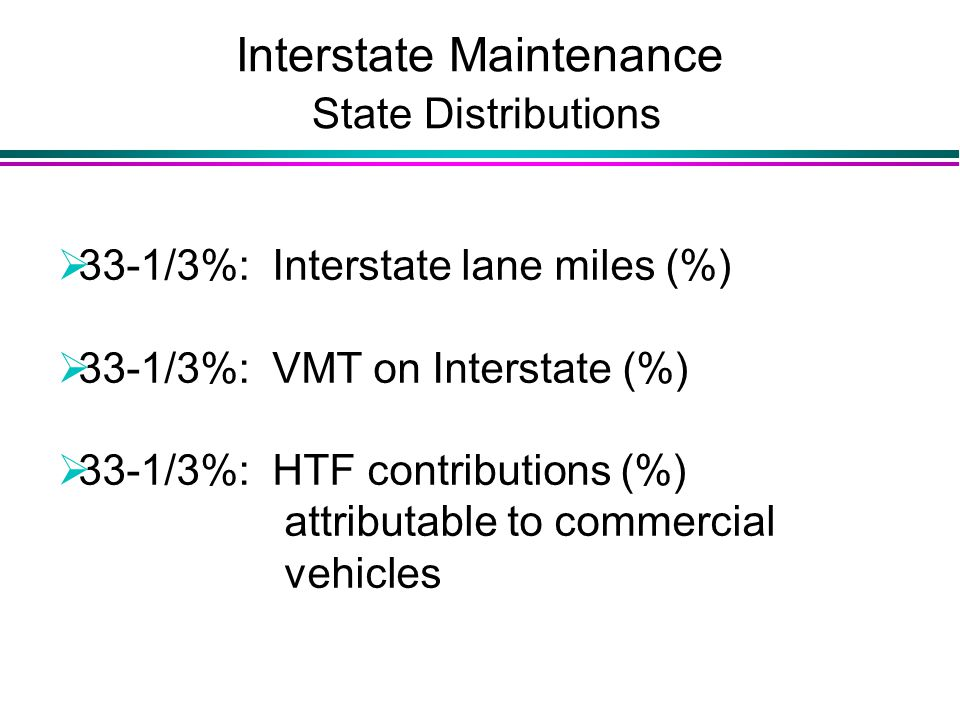 Interstate Maintenance State Distributions  33-1/3%: Interstate lane miles (%)  33-1/3%: VMT on Interstate (%)  33-1/3%: HTF contributions (%) attributable to commercial vehicles