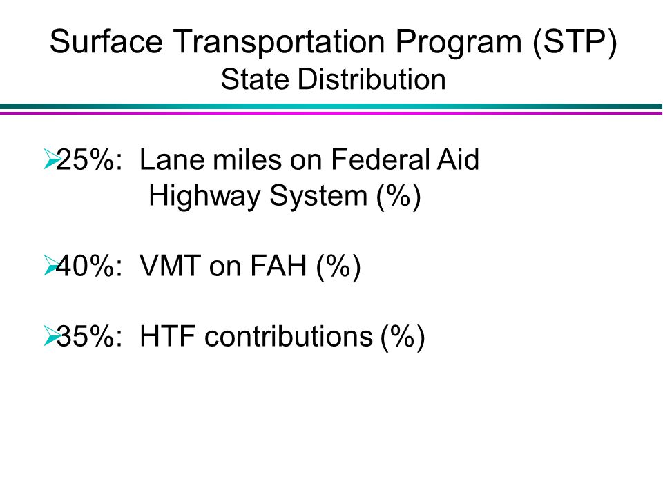 Surface Transportation Program (STP) State Distribution  25%: Lane miles on Federal Aid Highway System (%)  40%: VMT on FAH (%)  35%: HTF contributions (%)
