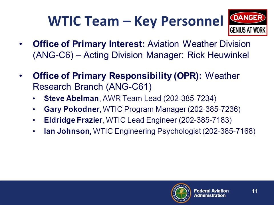 Federal Aviation Administration 11 WTIC Team – Key Personnel Office of Primary Interest: Aviation Weather Division (ANG-C6) – Acting Division Manager: