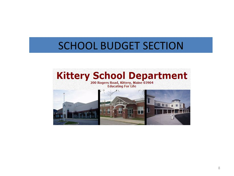 SCHOOL BUDGET SECTION 8