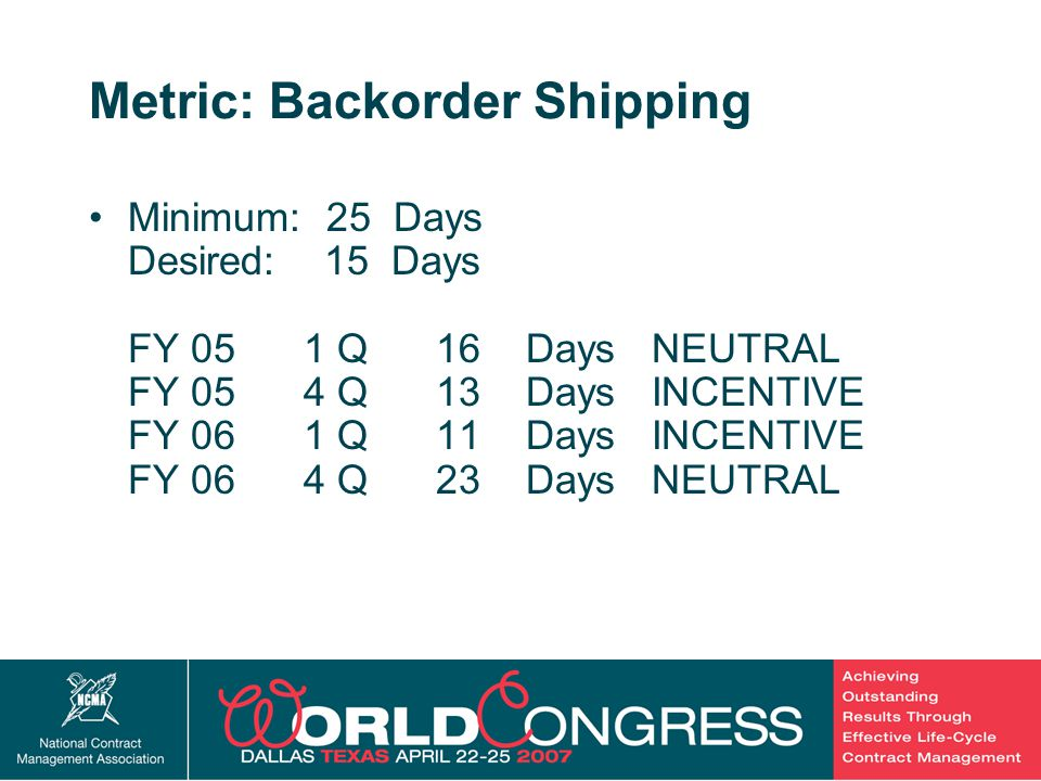 22 Metric: Backorder Shipping Minimum: 25 Days Desired: 15 Days FY 05 1 Q 16 Days NEUTRAL FY 05 4 Q 13 Days INCENTIVE FY 06 1 Q 11 Days INCENTIVE FY 0