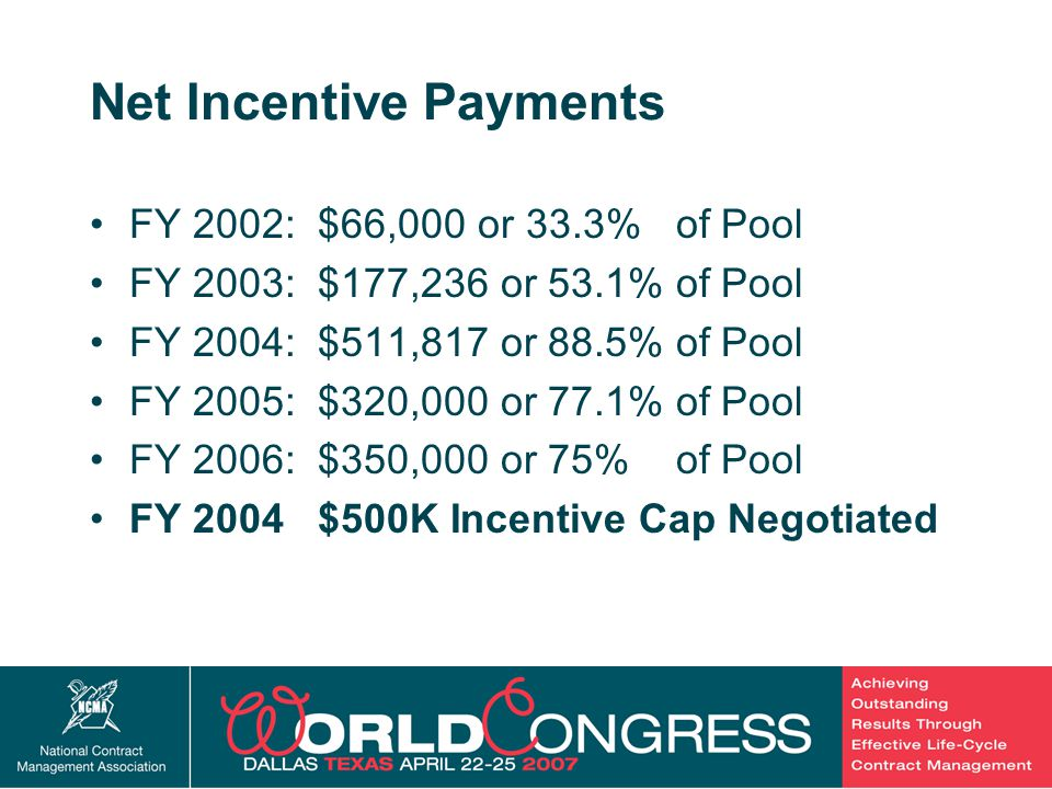 28 Net Incentive Payments FY 2002: $66,000 or 33.3% of Pool FY 2003: $177,236 or 53.1% of Pool FY 2004: $511,817 or 88.5% of Pool FY 2005: $320,000 or 77.1% of Pool FY 2006: $350,000 or 75% of Pool FY 2004 $500K Incentive Cap Negotiated