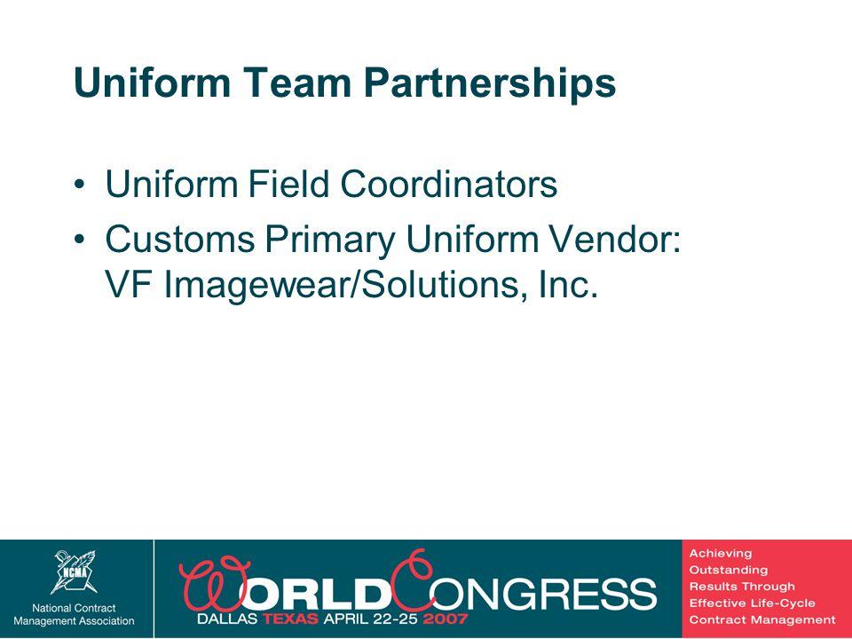 40 Uniform Team Partnerships Uniform Field Coordinators Customs Primary Uniform Vendor: VF Imagewear/Solutions, Inc.
