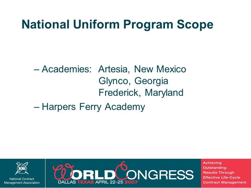 42 National Uniform Program Scope –Academies: Artesia, New Mexico Glynco, Georgia Frederick, Maryland –Harpers Ferry Academy