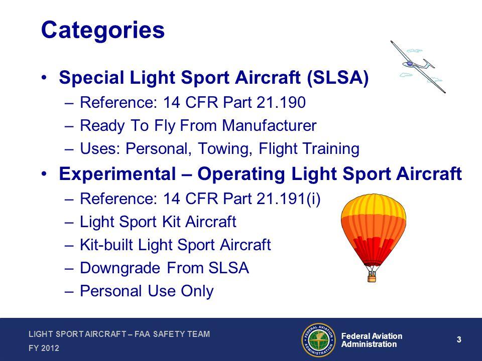 3 Federal Aviation Administration LIGHT SPORT AIRCRAFT – FAA SAFETY TEAM FY 2012 Categories Special Light Sport Aircraft (SLSA) –Reference: 14 CFR Par