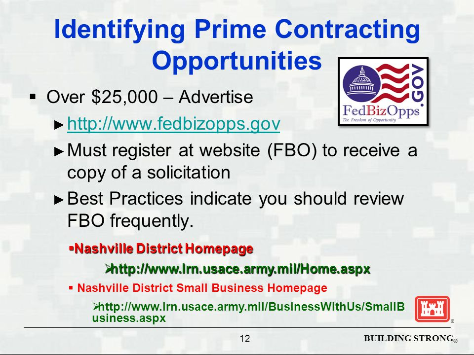 BUILDING STRONG ® Identifying Prime Contracting Opportunities  Over $25,000 – Advertise ► http://www.fedbizopps.gov http://www.fedbizopps.gov ► Must register at website (FBO) to receive a copy of a solicitation ► Best Practices indicate you should review FBO frequently.