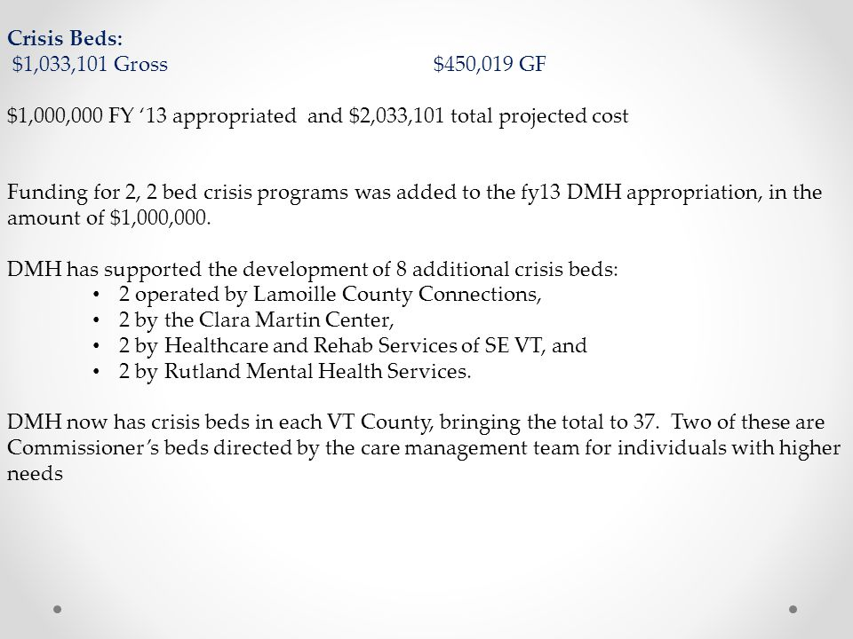 Crisis Beds: $1,033,101 Gross$450,019 GF $1,000,000 FY '13 appropriated and $2,033,101 total projected cost Funding for 2, 2 bed crisis programs was added to the fy13 DMH appropriation, in the amount of $1,000,000.
