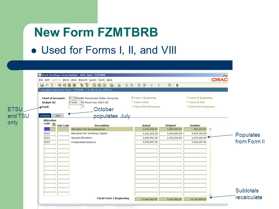 New Form FZMTBRB Used for Forms I, II, and VIII Populates from Form II Subtotals recalculate October populates July ETSU and TSU only