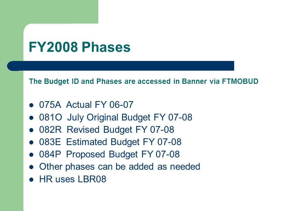 Budget Phase Flowchart Budget ID: FY2007 July 07-08 Budget phases Actual 05-06 065A Oct 06-07 072R Estimated 06-07 073E July 07-08 084P October 07-08 Budget phases Actual 06-07 075A July 07-08 081O Oct 07-08 082R Budget ID: FY2008 July 08-09 Budget phases Actual 06-07 075A Oct 07-08 082R Estimated 07-08 083E July 08-09 094P Amounts rolled from FY2007 084P to FY2008 081O