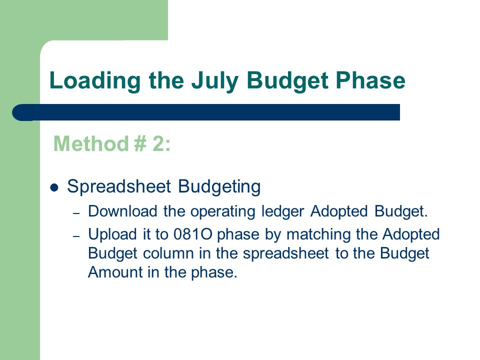 October Budget – MTSU method Enter budget revisions in the operating ledger using BD02 or BD04 transactions (FGAJVCD).