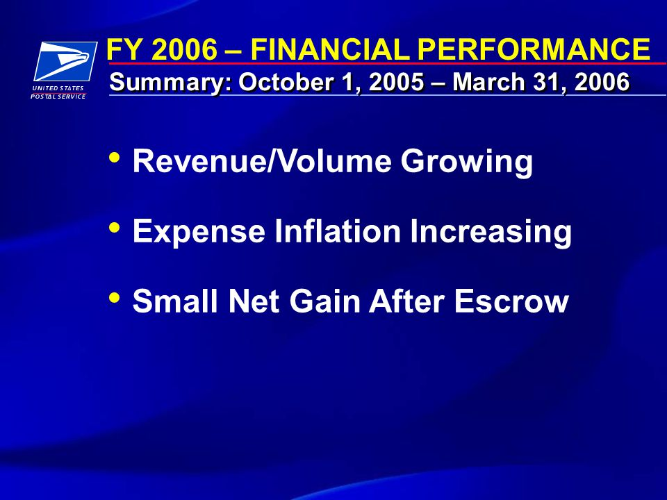 FY 2006 – FINANCIAL PERFORMANCE Summary: October 1, 2005 – March 31, 2006 Revenue/Volume Growing Expense Inflation Increasing Small Net Gain After Escrow