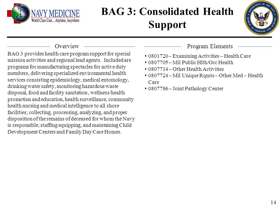 14 BAG 3: Consolidated Health Support BAG 3 provides health care program support for special mission activities and regional lead agents. Included are