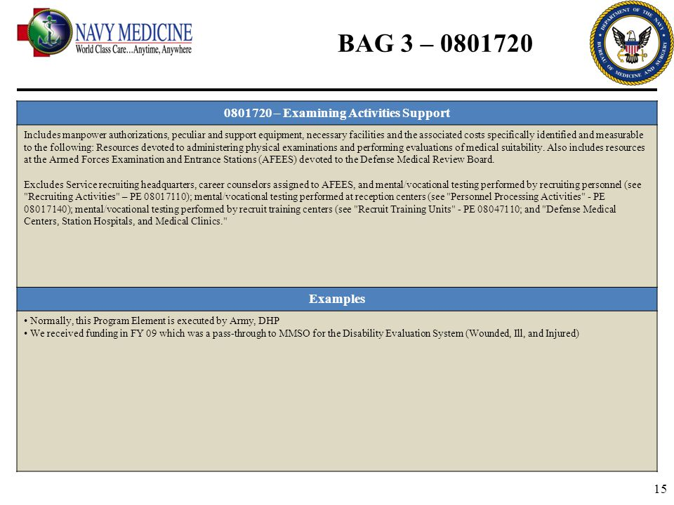 15 BAG 3 – 0801720 0801720 – Examining Activities Support Includes manpower authorizations, peculiar and support equipment, necessary facilities and t