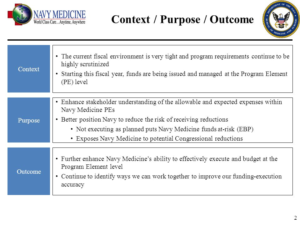 23 BAG 5: Management Activities BAG 5 finances the internal operation of navy medical headquarters.