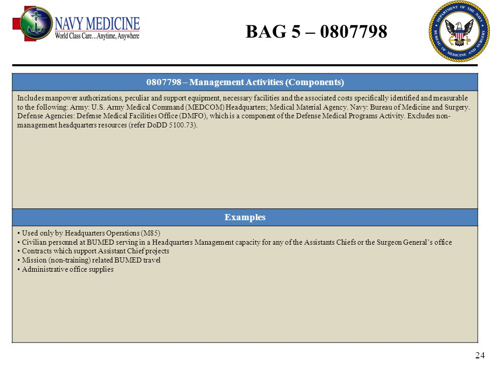 24 BAG 5 – 0807798 0807798 – Management Activities (Components) Includes manpower authorizations, peculiar and support equipment, necessary facilities