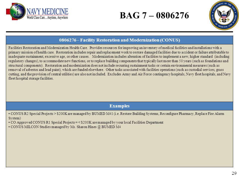 29 BAG 7 – 0806276 0806276 – Facility Restoration and Modernization (CONUS) Facilities Restoration and Modernization Health Care. Provides resources f