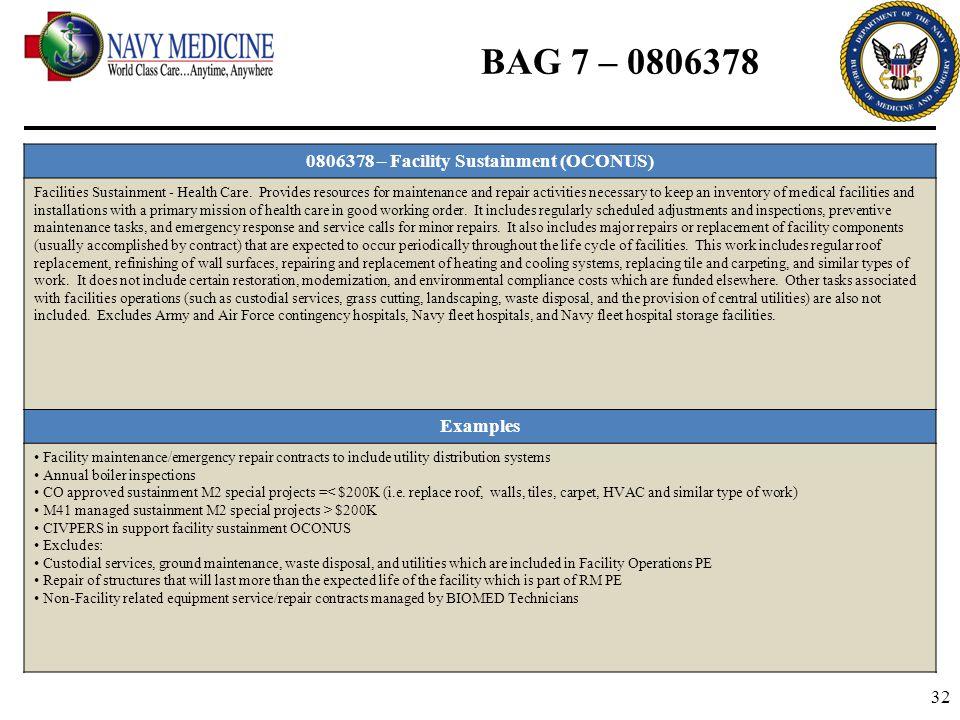 32 BAG 7 – 0806378 0806378 – Facility Sustainment (OCONUS) Facilities Sustainment - Health Care. Provides resources for maintenance and repair activit