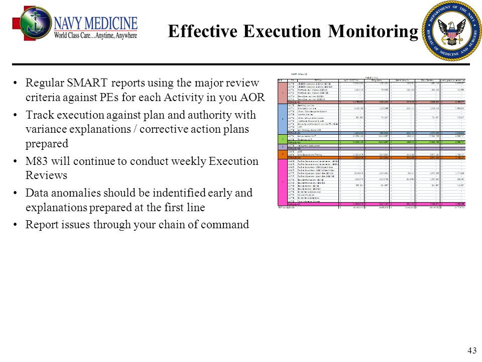 43 Effective Execution Monitoring Regular SMART reports using the major review criteria against PEs for each Activity in you AOR Track execution again