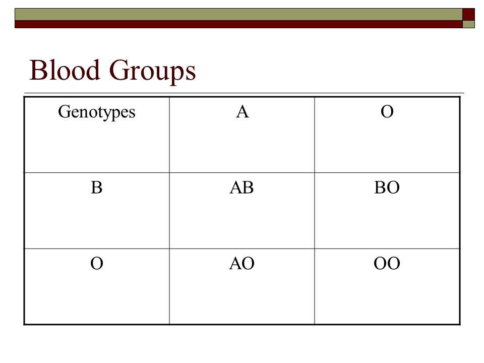 Blood Groups GenotypesAO BABBO OAOOO