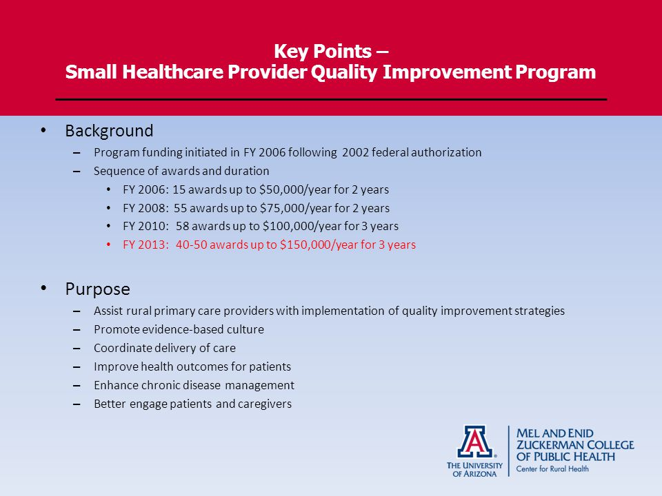 Key Points – Small Healthcare Provider Quality Improvement Program Background – Program funding initiated in FY 2006 following 2002 federal authorization – Sequence of awards and duration FY 2006:15 awards up to $50,000/year for 2 years FY 2008: 55 awards up to $75,000/year for 2 years FY 2010: 58 awards up to $100,000/year for 3 years FY 2013: awards up to $150,000/year for 3 years Purpose – Assist rural primary care providers with implementation of quality improvement strategies – Promote evidence-based culture – Coordinate delivery of care – Improve health outcomes for patients – Enhance chronic disease management – Better engage patients and caregivers