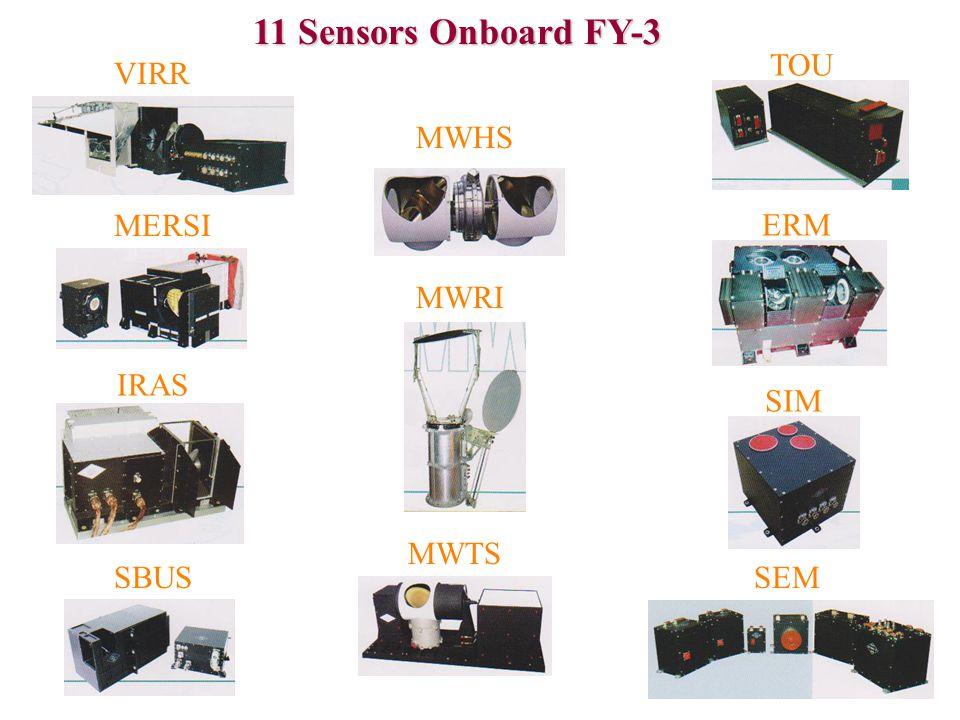 11 Sensors Onboard FY-3 VIRR MERSI IRAS SBUS MWHS MWRI MWTS SEM SIM ERM TOU