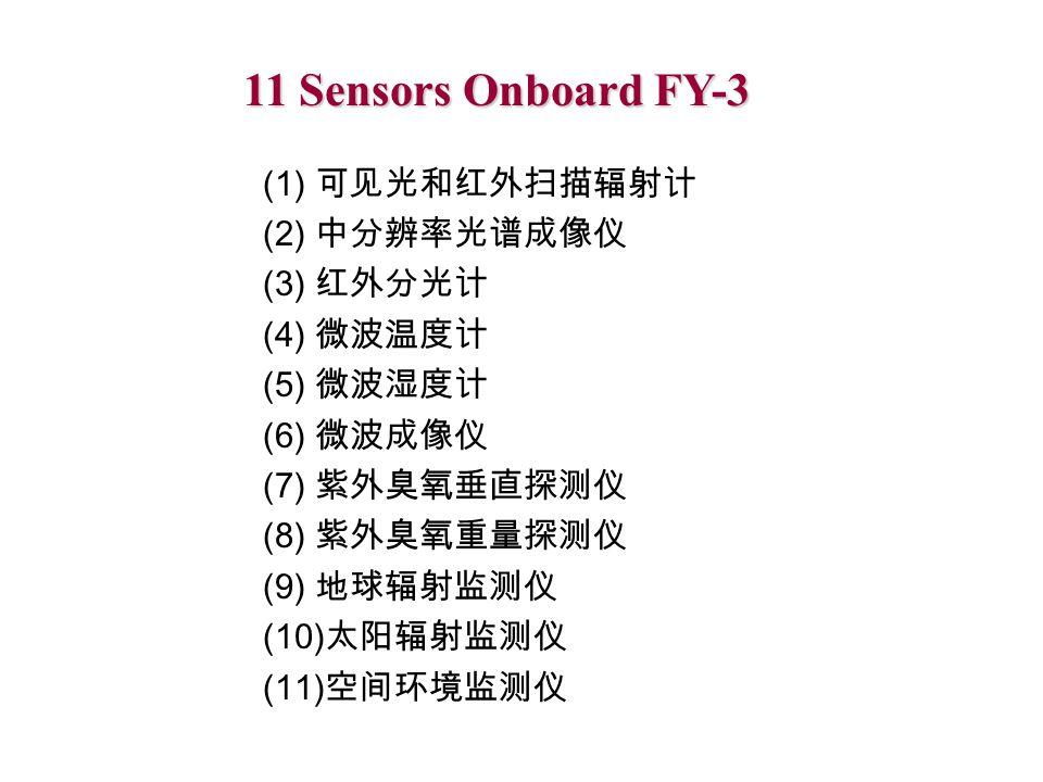 11 Sensors Onboard FY-3 (1) 可见光和红外扫描辐射计 (2) 中分辨率光谱成像仪 (3) 红外分光计 (4) 微波温度计 (5) 微波湿度计 (6) 微波成像仪 (7) 紫外臭氧垂直探测仪 (8) 紫外臭氧重量探测仪 (9) 地球辐射监测仪 (10) 太阳辐射监测仪 (11) 空间环境监测仪
