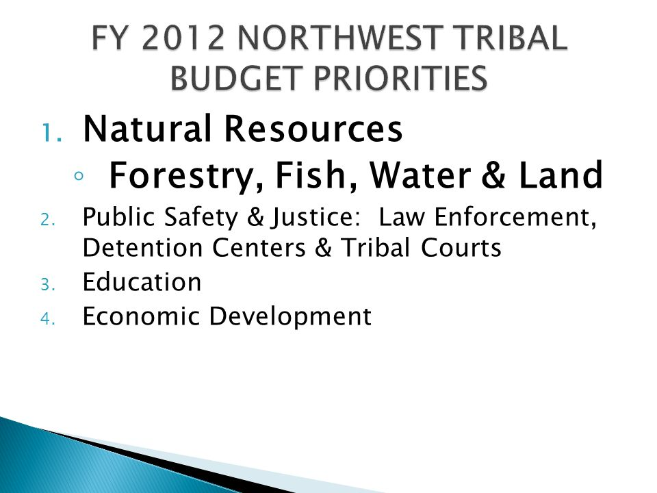 1. Natural Resources ◦ Forestry, Fish, Water & Land 2.