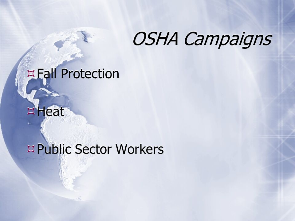 OSHA Campaigns  Fall Protection  Heat  Public Sector Workers  Fall Protection  Heat  Public Sector Workers