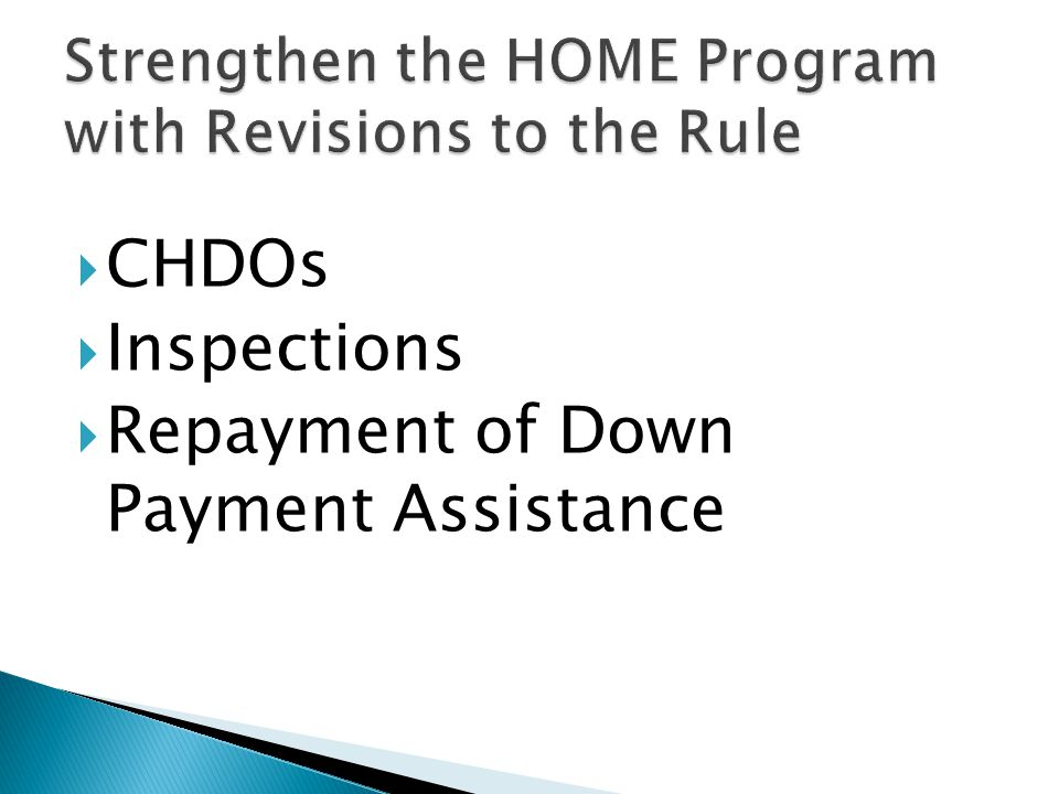  CHDOs  Inspections  Repayment of Down Payment Assistance