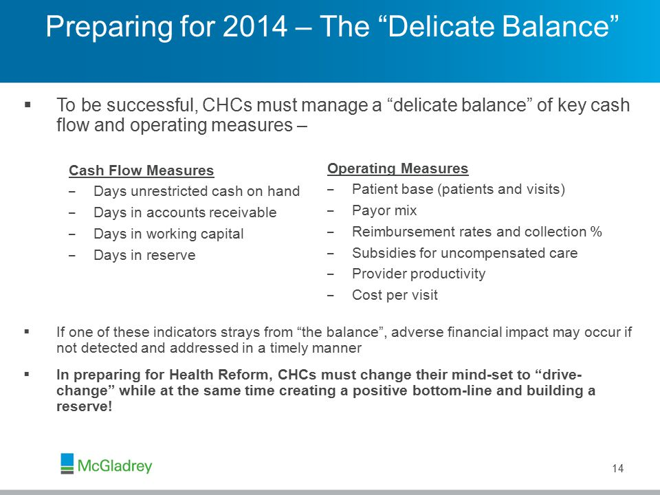 Preparing for 2014 – The Delicate Balance  To be successful, CHCs must manage a delicate balance of key cash flow and operating measures –  If one of these indicators strays from the balance , adverse financial impact may occur if not detected and addressed in a timely manner  In preparing for Health Reform, CHCs must change their mind-set to drive- change while at the same time creating a positive bottom-line and building a reserve.