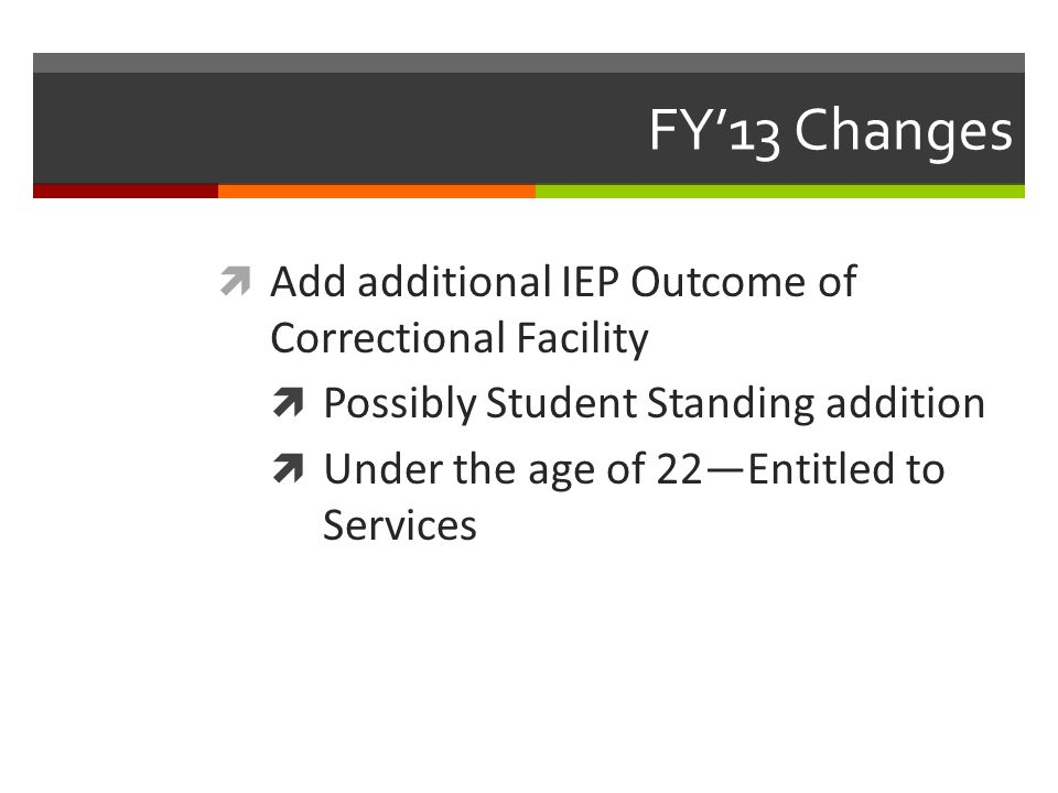 FY'13 Changes  Add additional IEP Outcome of Correctional Facility  Possibly Student Standing addition  Under the age of 22—Entitled to Services